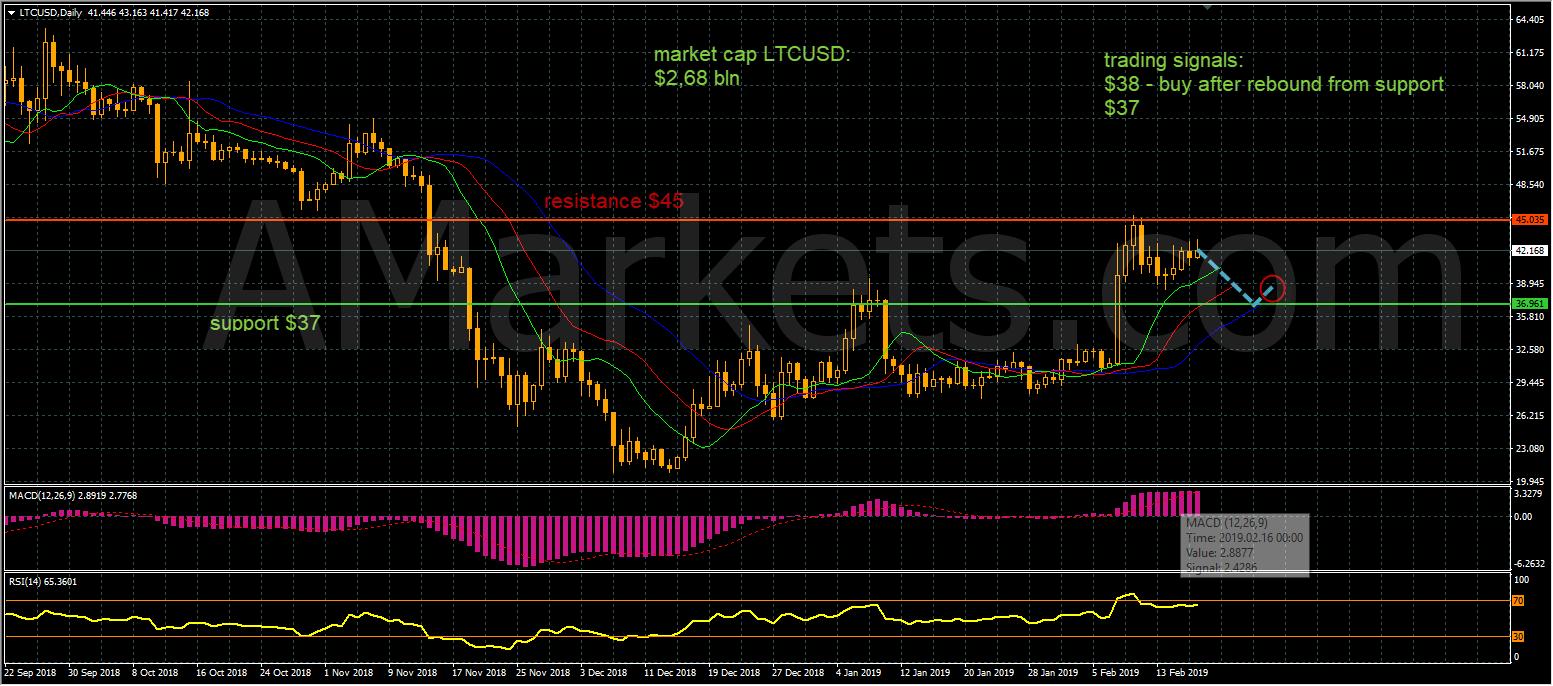 LTCUSD price chart - 18.02.2019